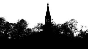 Black And White Church And Trees Silhouette