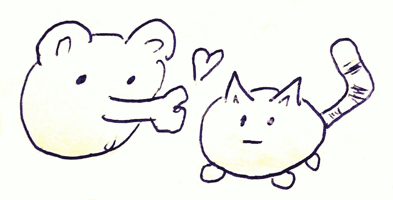 Bear Kisses Cat Comic by qubodup