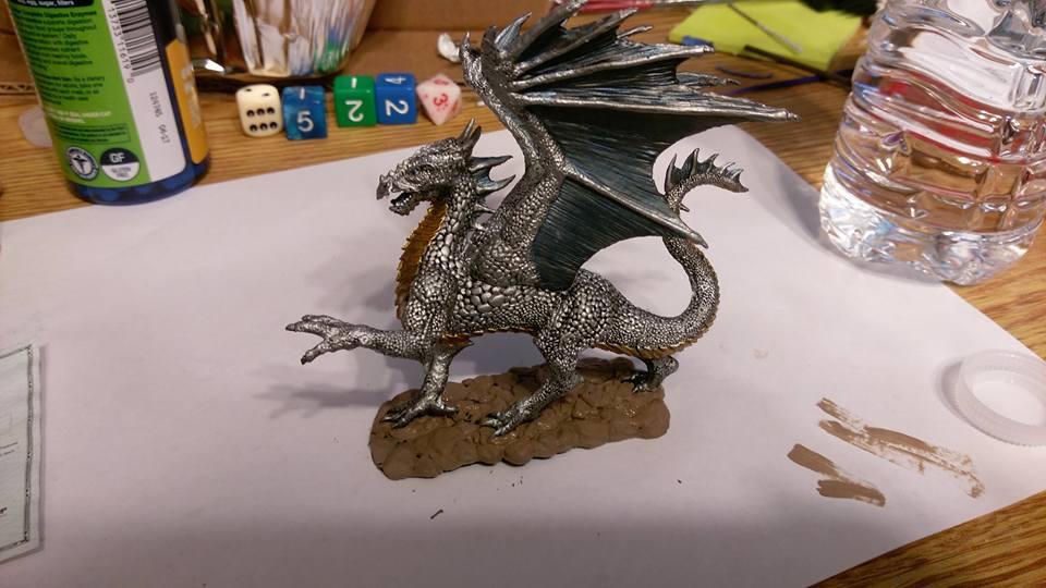 Silver dragon miniature by KiwiPheonix