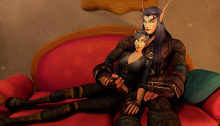 Detail: Fade and Tact on the couch by WolfjeLina