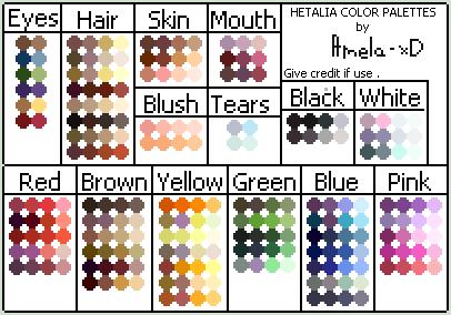 Hetalia Color Palettes by Amela-xD