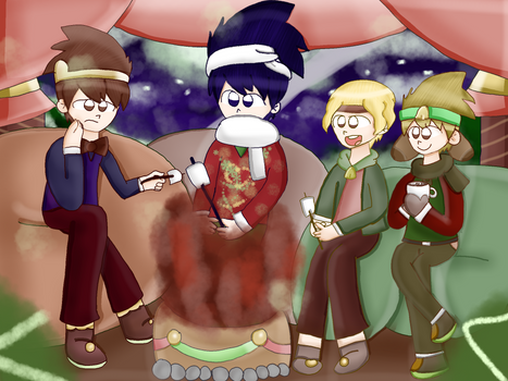 Merry christmas, at the fireplace (Pop'n Music) by Eilige on
