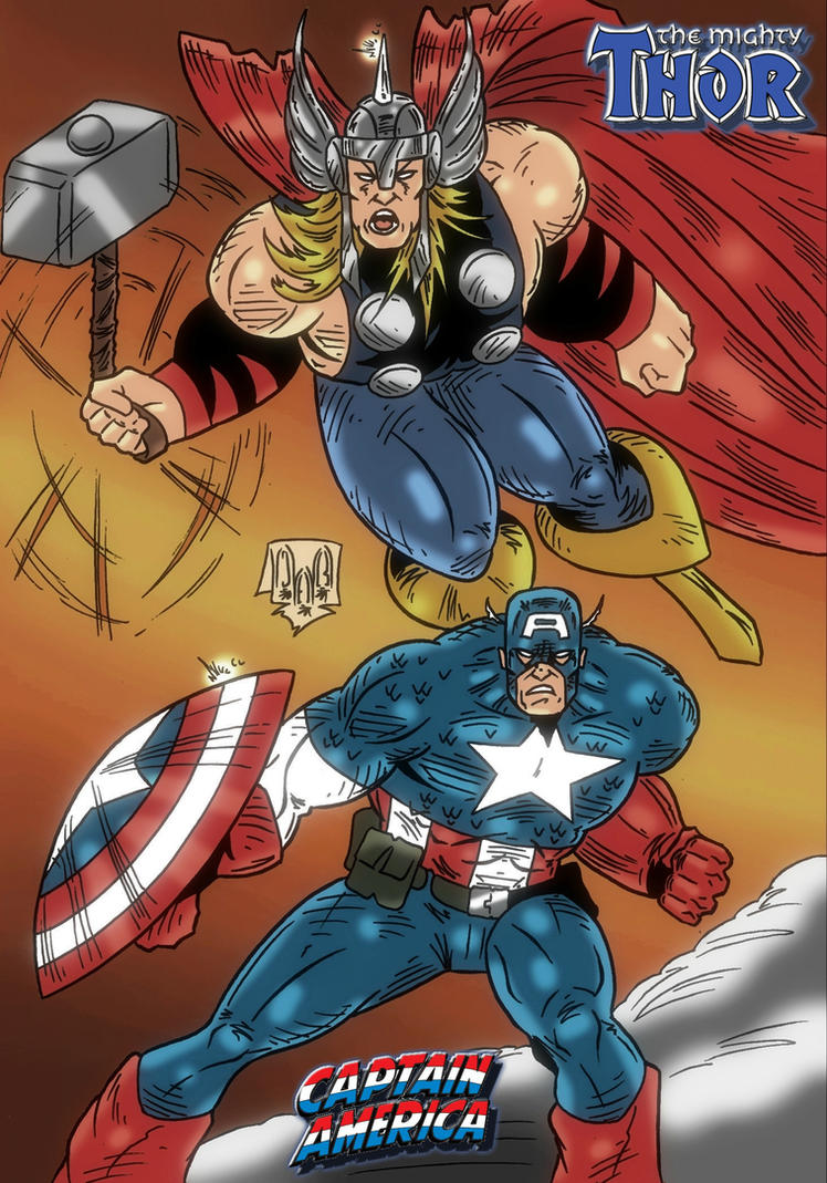 Thor and Captain America by violencejack666