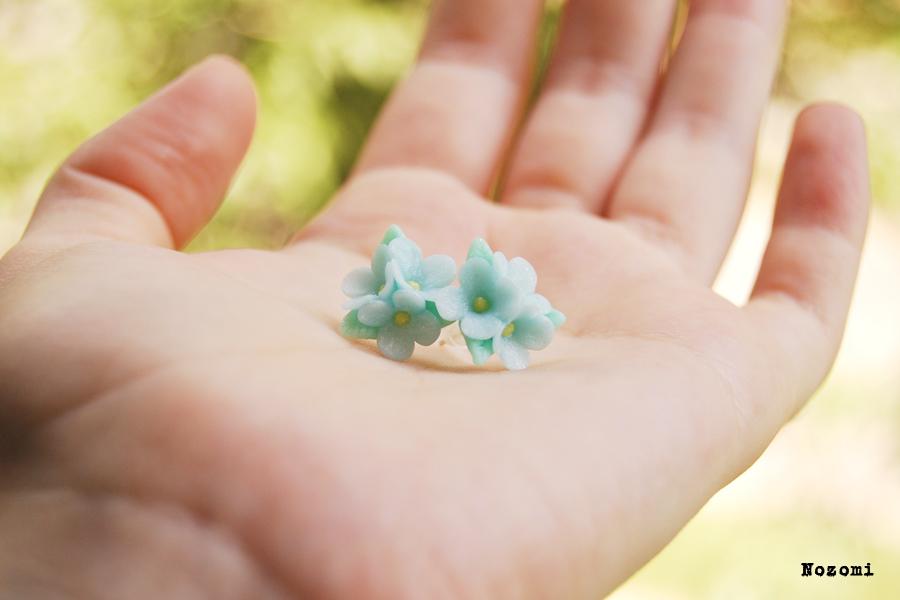 blue pearl earrings flowers by Nozomi21