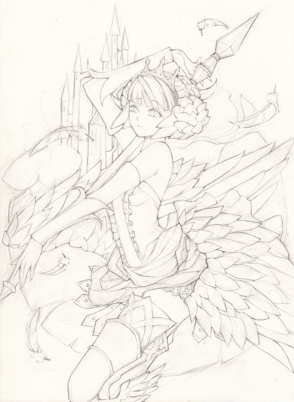 Odin Sphere_Gwendolyn (Line Art) by Princess--Ailish