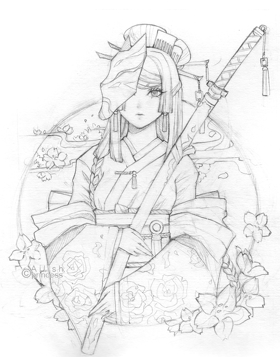 line art kimono by princess ailish on deviantart. Black Bedroom Furniture Sets. Home Design Ideas