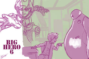 Big Hero 6 sketches by JuuxMiko