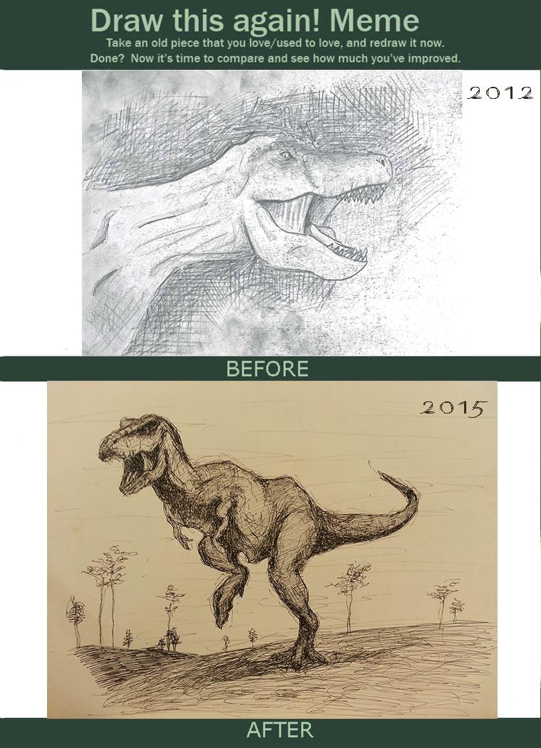 Redraw Meme T-rex by JuuxMiko