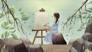 The girl painting picture