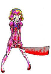 Final girl in a horror film by takena-n
