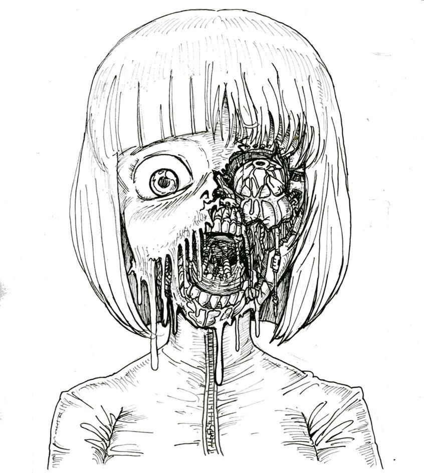 cyborg face by takena-n