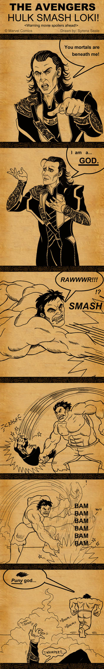The Avengers - Hulk Smash Loki by SlayerSyrena