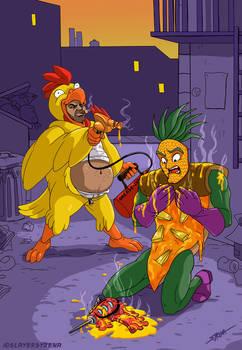 Pineapple Pizza Man VS Cluck E' Sleaze