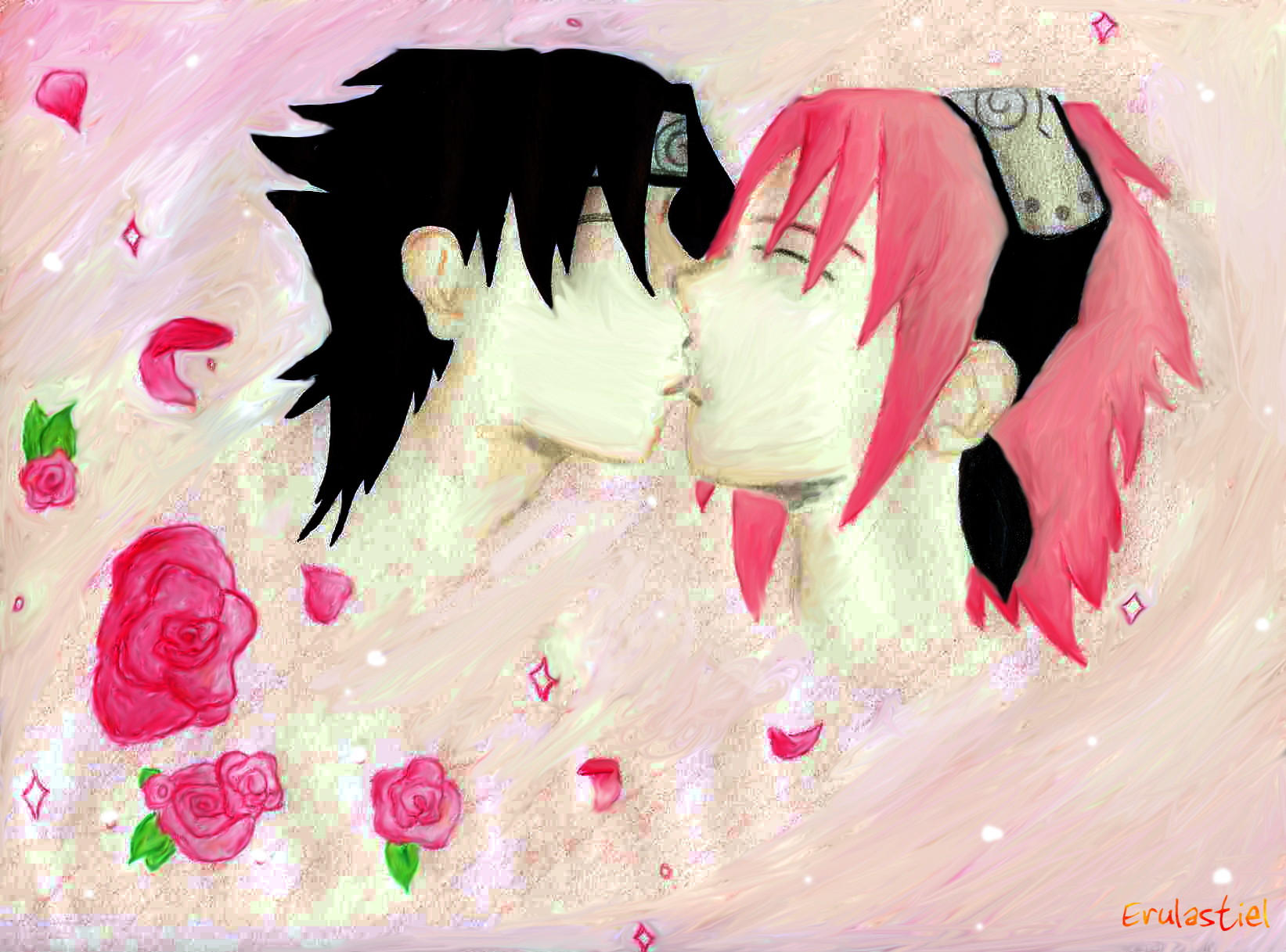 SasuSaku-First Kiss by Erulastiel