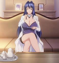 Aki having tea