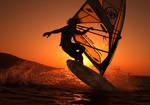 Sunrise windsurfing