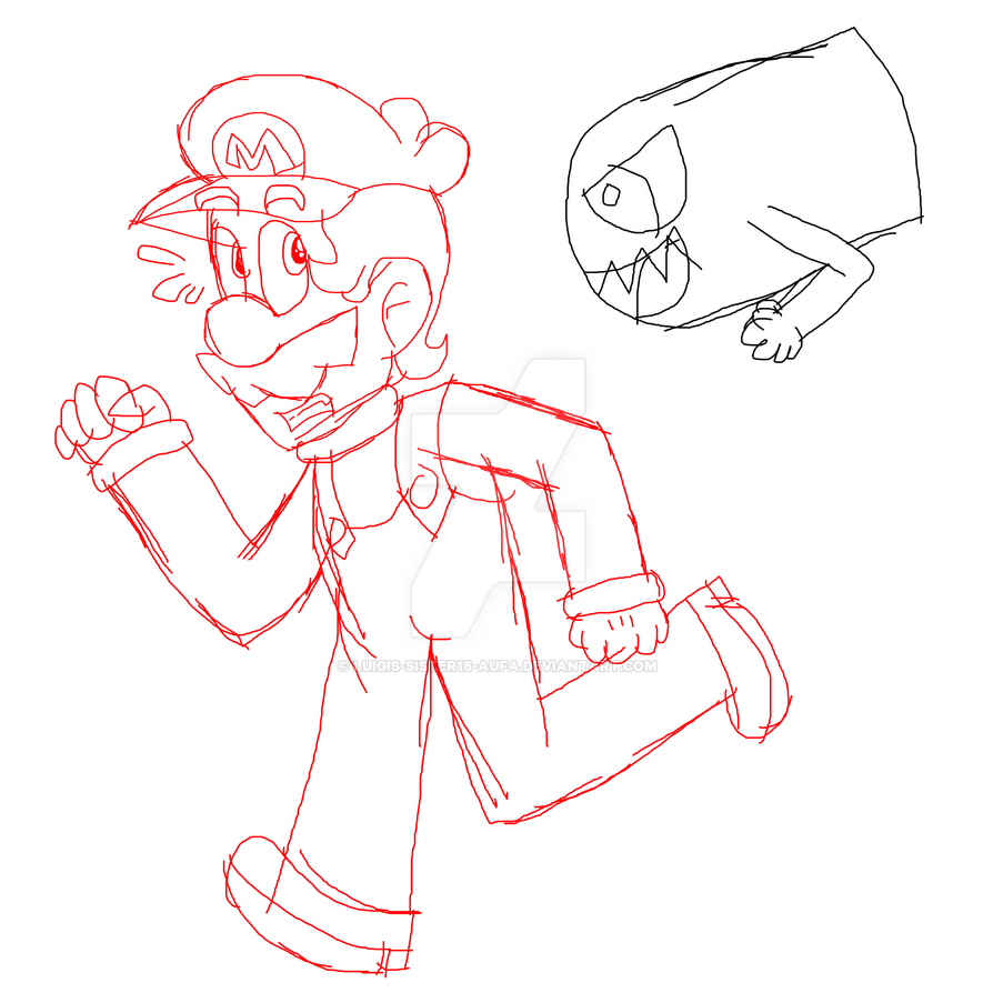 (Sketch) Mario got Chased by Bullet Bill by Luigis-Sister18-Aufa