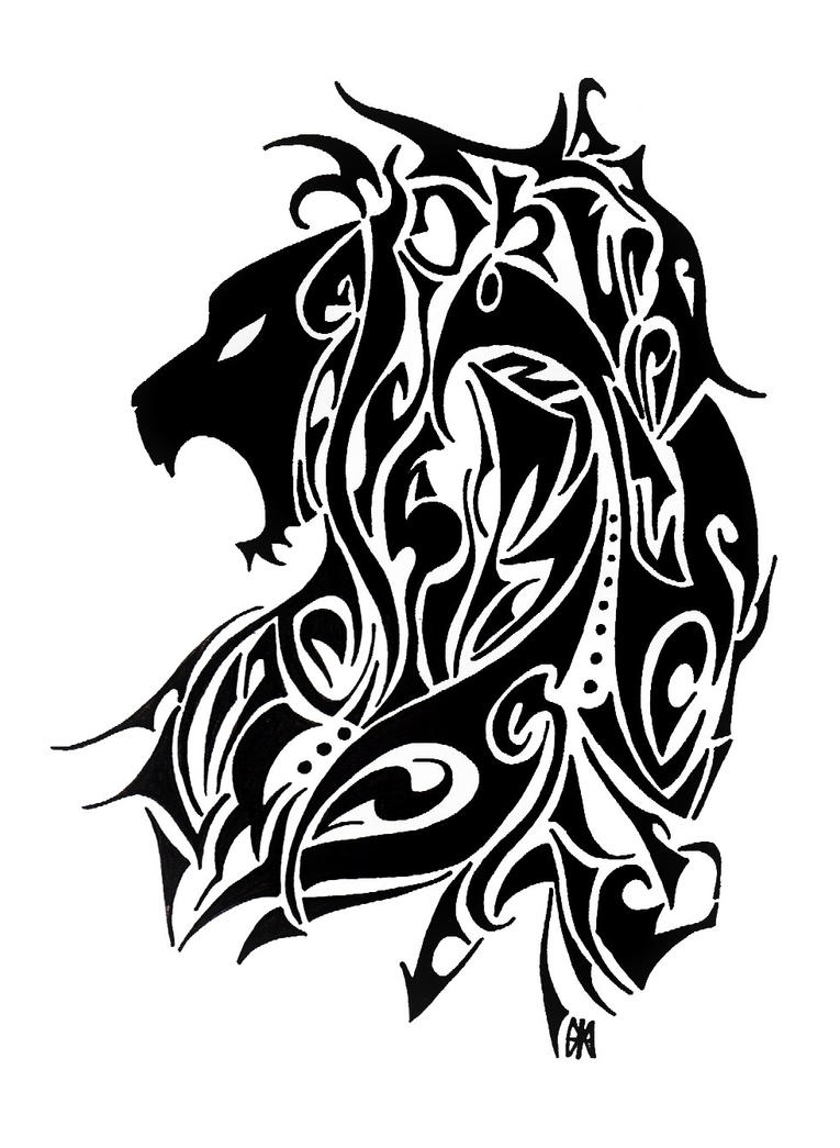 Tribal-Tattoos lion_tribal_tattoo_design_by_hamydsart-d4vl1o4
