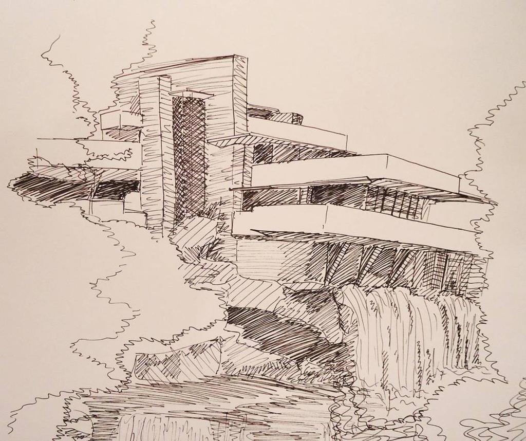 Waterfall house sketch by menakaren on DeviantArt