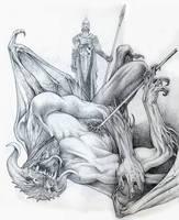 Ecthelion and Gothmog sketch by DanielGovar