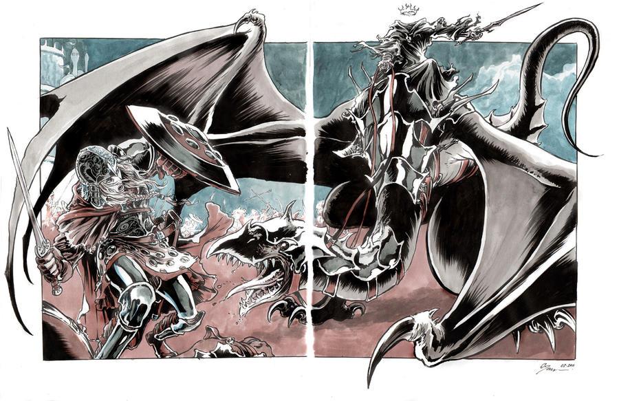 2 page Eowyn vs Witchking by DanielGovar