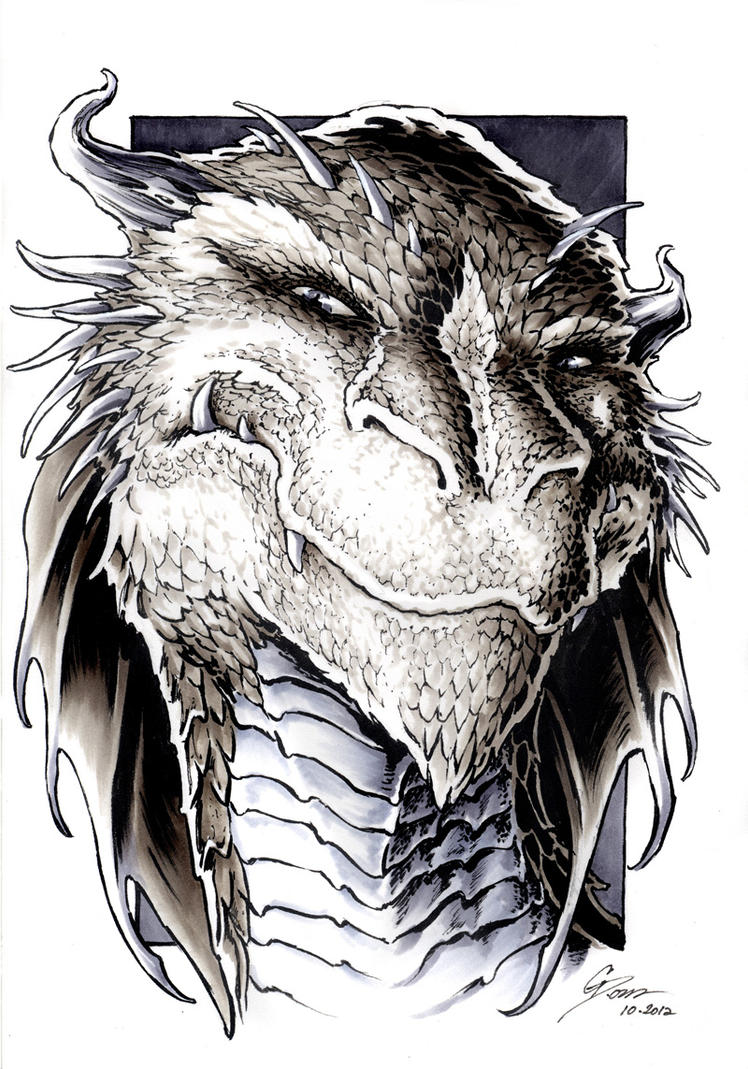 The Hobbit - Smaug Portrait by DanielGovar