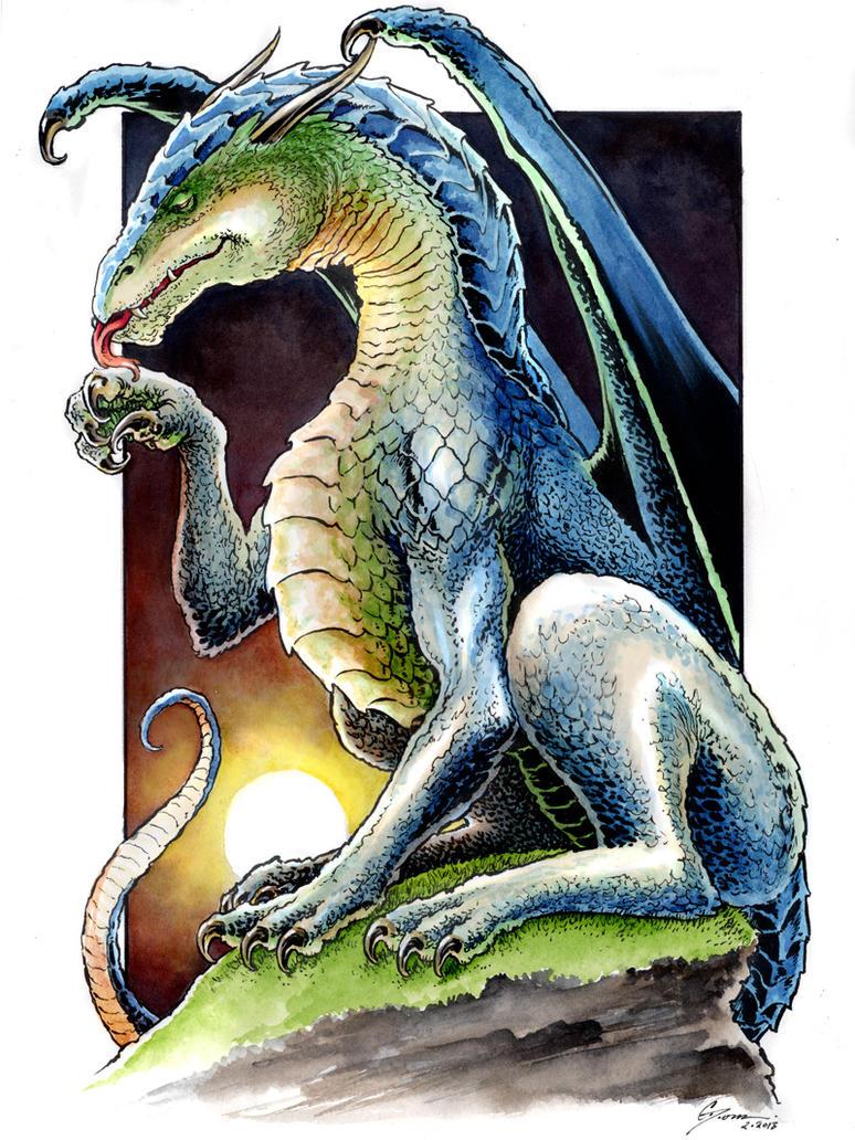 Blue Green Dragon by DanielGovar