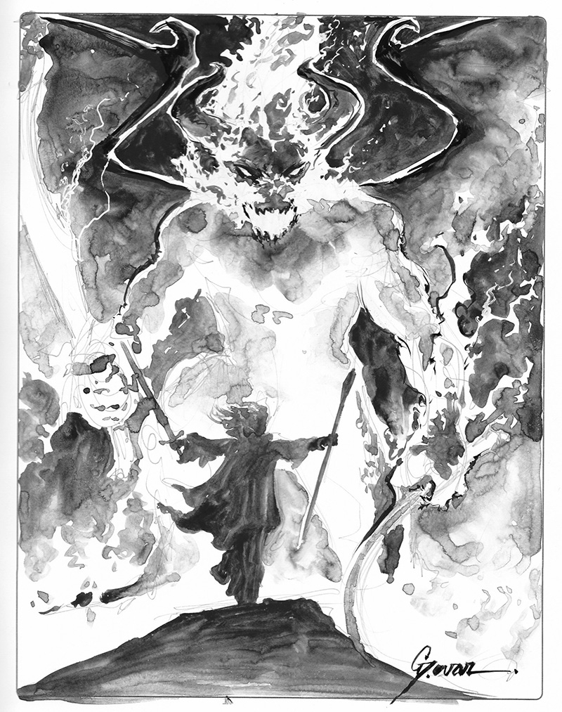 Balrog vs Gandalf Sketch by DanielGovar