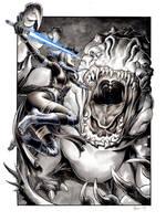 Shaak Ti vs the Rancor by DanielGovar