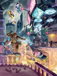 Cyberpunk Boy and Dog by DanielGovar