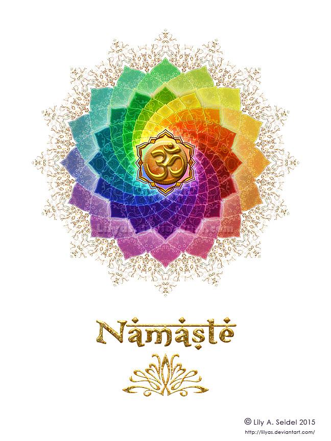 Lotus Om Namaste T-Shirt by Lilyas