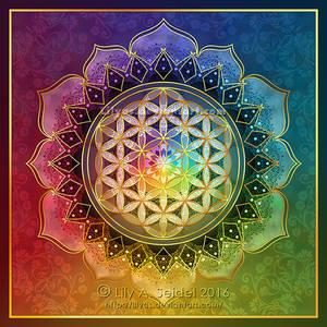 Rainbow Flower of Life Lotus