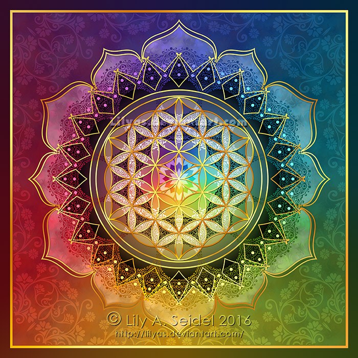 rainbow flower of life lotus by lilyas on deviantart. Black Bedroom Furniture Sets. Home Design Ideas