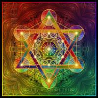 Rainbow Metatron's Cube PRINT