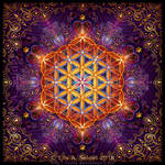 Golden Lace Mandala with Flower of Life