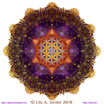 Golden Lace Mandala with Flower of Life -round-