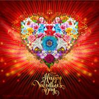 Valentine Flower Heart by Lilyas