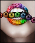 Rainbow Lips with Pearls by Lilyas