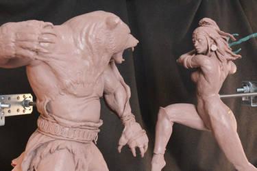 Jar-Eel the Razoress meet Harrek the Berserk by Moirades