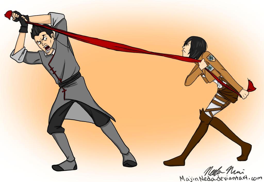 Red Scarf- Mako and Mikasa by MajinNeda
