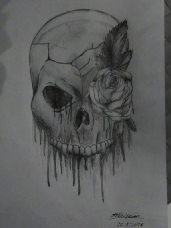 Skull with Rose by OtakuGurlLady