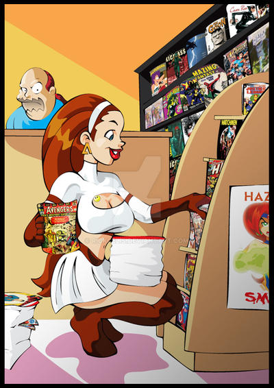 Commission - Andromeda in the comic shop by RickCelis