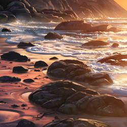 rocky beach sketch