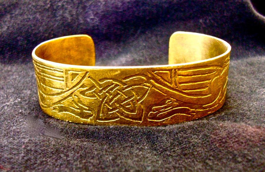 celtic brass cuff by Haeddre