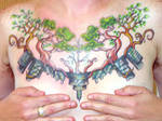 trees and buildings chestpiece