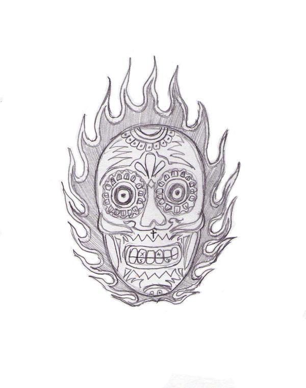 Flame skull old school tattoo
