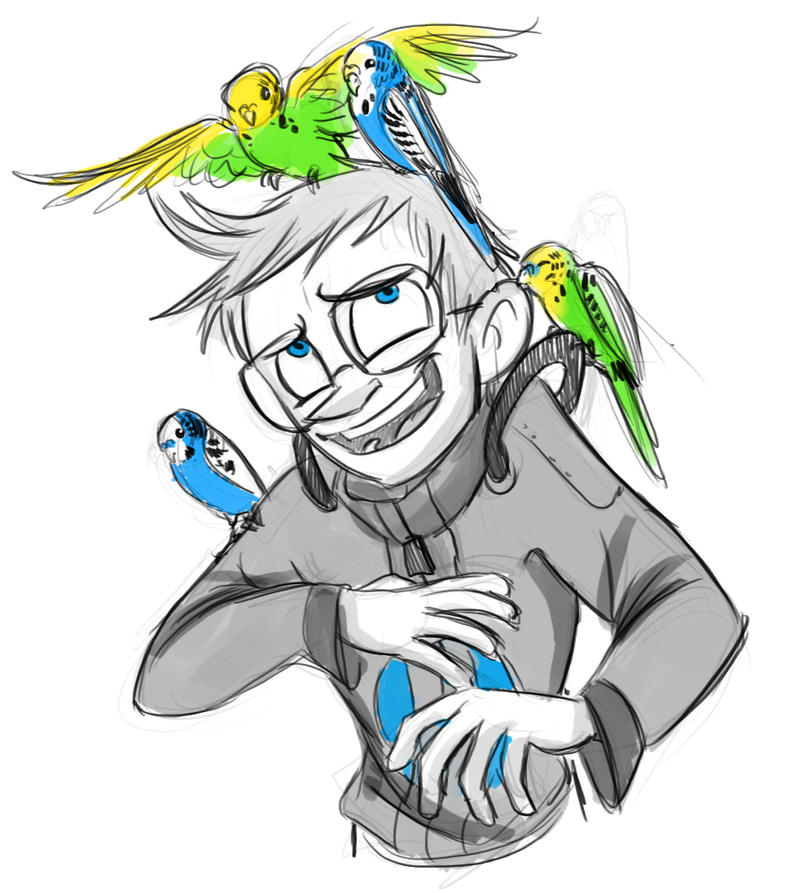 Wheatley and Budgies by HarpyMarx