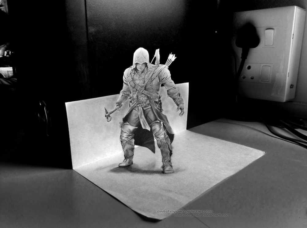 Connor - Assassins' Creed (3D Drawing) by AnkitDArt