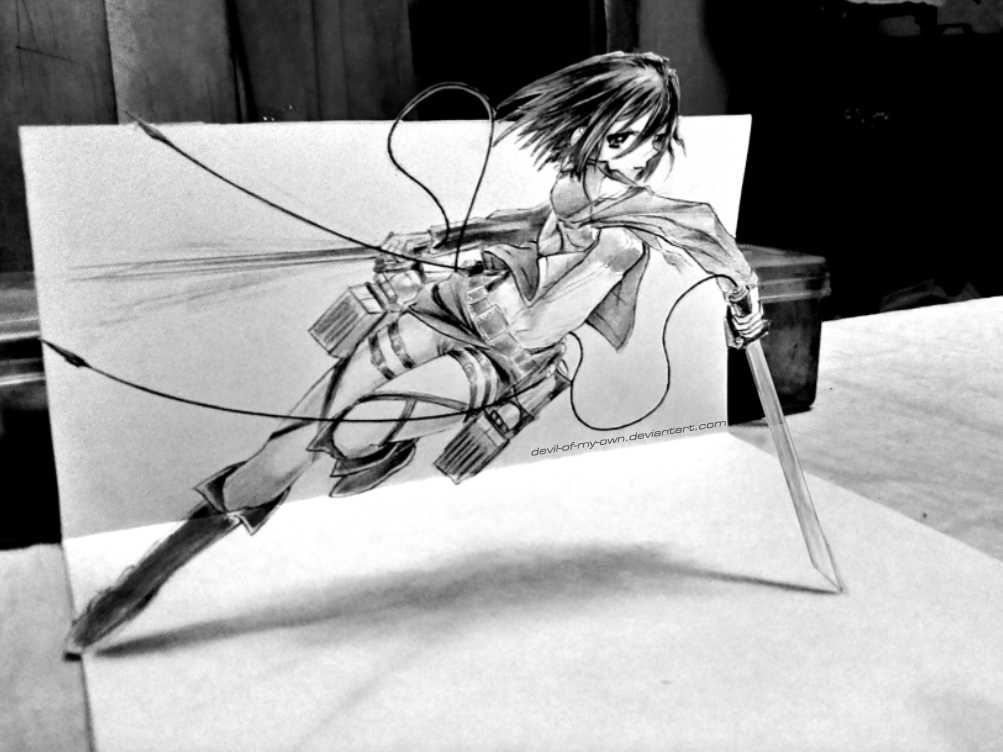 Mikasa Ackerman - 3D Drawing by devil-of-my-own