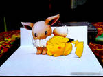 Pikachu and Eevee (2nd version) - 3D Drawing by Ankredible